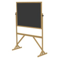 Duroslate Reversible 3' H x 4' L Black Chalkboard with Wood Frame