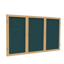 3-Door Aluminum Frame Enclosed Fabric Tackboard