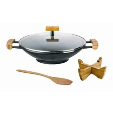 Green Life 46cm Ceramic Wok with Trivet and Turner