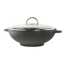 Modena 32cm Non Stick Wok in Black with Lid