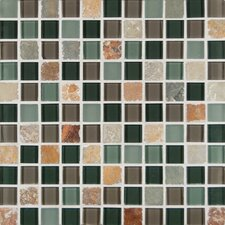 """California Blend Mesh Mounted 1"""" x 1""""  Glass and Natural Stone Mosaic Tile in Gold"""