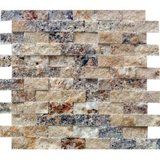 """2"""" x 1"""" Splitface Travertine Mosaic in Tuscany Scabas"""