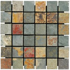 "12"" x 12"" Tumbled Slate Mosaic in California Gold"