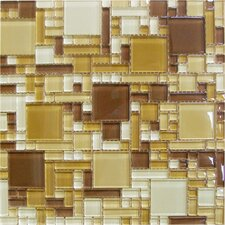 "12"" x 12"" Crystallized Glass Mosaic in Chestnut Blend Magic Pattern"