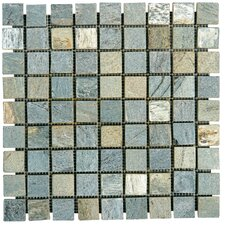 "12"" x 12"" Tumbled Slate Mosaic in Gold Green"