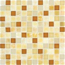 "1"" x 1"" Polished Glass Mosaic in Honey Caramel"