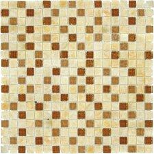 "5/8"" x 5/8"" Tumbled Glass Mosaic in Honey Ripple Blend"
