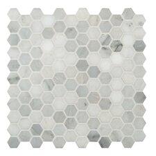 "1"" x 1"" Honed Marble Mosaic in Arabescato Carrara"