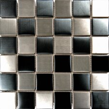 "12"" x 12"" Metal Mosaic in Black and Silver"