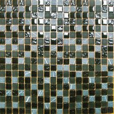 "<strong>MS International</strong> 12"" x 12"" Tumbled Glass Mosaic in Black Marquee"