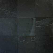 "16"" x 16"" Cleft Slate Tile in Montauk Black"
