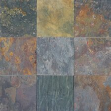 "16"" x 16"" Cleft Slate Tile in Multi Classic"