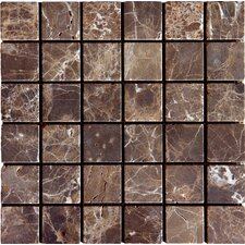 "SAMPLE - 12"" x 12"" Tumbled  Marble Mosaic in Emperador Dark"