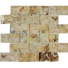 "<strong>MS International</strong> 12"" x 12"" Splitface Travertine Mosaic in Tuscany Scabas"