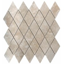 "12"" x 12"" Tumbled Travertine Mosaic in Durango Rhomboids"