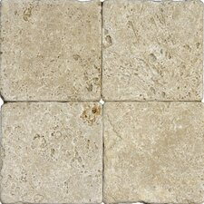 "6"" x 6"" Tumbled Travertine Tile in Tuscany Walnut"