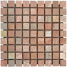 "<strong>MS International</strong> 12"" x 12"" Tumbled Slate Mosaic in Copper"