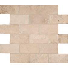 "4"" x 2"" Tumbled Travertine Mosaic in Durango Brick"