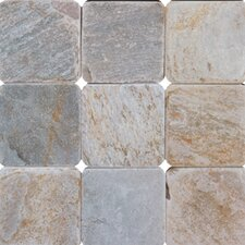 "SAMPLE - 4"" x 4"" Tumbled Quartzite Tile in Golden White"