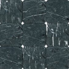 "SAMPLE - 4"" x 4"" Tumbled Marble Tile in China Black"