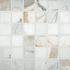 "Calacatta Gold 2"" x 2"" Polished Marble Mesh Mounted Mosaic Tile in White"