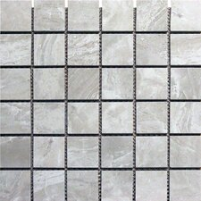 "Pietra Pearl 2"" x 2"" Porcelain Polished Floor and Wall Mosaic Tile in High Gloss"