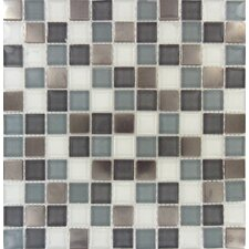 "Diamond Cove 12"" x 12"" Glass and Metal Blend Mesh Mounted Mosaic Tile in Multi"