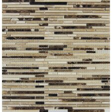 Emperador Random Sized Blend Bamboo Marble Mesh Mounted Mosaic Tile in Brown