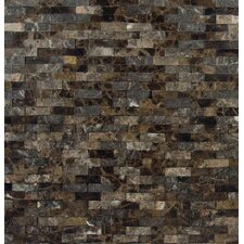 "Emperador Splitface 12"" x 12"" Marble Mesh Mounted Mosaic Tile in Brown"