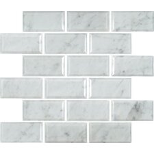 "Greecian 12"" x 12"" Polished Beveled Marble Mesh Mounted Mosaic Tile in White"