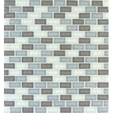 "Majestic Ocean Mini Brick 12"" x 12"" Glass Blend Mesh Mounted Mosaic Tile in White and Grey"