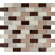"Ayres 2"" x 1"" Blend Glass Mesh Mounted Mosaic Tile in Multi"
