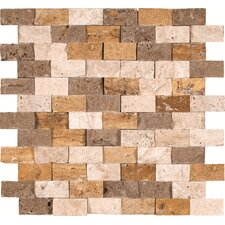 "Mixed 12"" x 12"" Split Face Travertine Mesh Mounted Mosaic Tile in Multi"