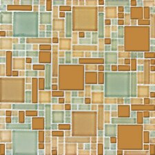 "Magic 12"" x 12"" Glass Blend Mesh Mounted Mosaic Tile in Mocha Cream"