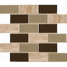 "Pine Valley 4"" x 2"" Glass Stone Blend Mesh Mounted Mosaic Tile in Beige"