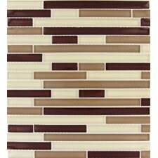 "Sedona 12"" x 12"" Glass Blend Interlocking Mesh Mounted Mosaic Tile in Beige and Brown"
