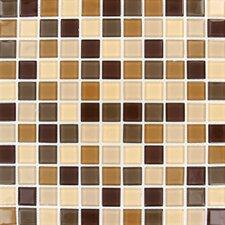 "Spring Leaf 1"" x 1"" Glass Blend Mesh Mounted Mosaic Tile in Beige"