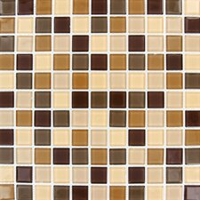 "Spring Leaf 12"" x 12"" Glass Blend Mesh Mounted Mosaic Tile in Beige"