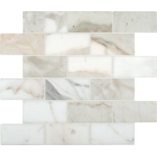 "Calacatta Gold 4"" x 2"" Polished Marble Mesh Mounted Mosaic Tile in White"