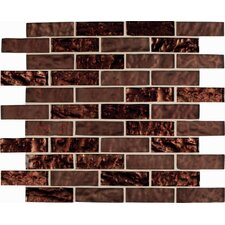 "Copper Leaf 3"" x 1"" Glass Blend Mesh Mounted Mosaic Tile in Brown"