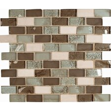 "Cosmos 12"" x 12"" Glass Stone Blend Mesh Mounted Mosaic Tile in Beige"
