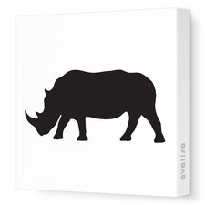 Silhouettes Rhino Stretched Canvas Art