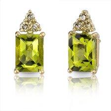 14 Karat Yellow Gold 3.00 carats Radiant Checkerboard Cut Peridot Diamond Earrings
