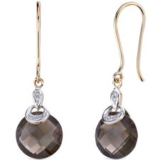 10 Karat Two Tone Gold 7.00 carat Round Checkerboard Cut Smoky Quartz Diamond Earrings (0.04 carat Stone)
