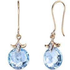 10 Karat Two Tone Gold 9.00 carat Checkerboard Cut Diamond Earrings (0.03 carat Stone)