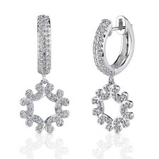 Lavish Glamour: Sterling Silver Hinged Post Hoop Earrings with Cubic Zirconia