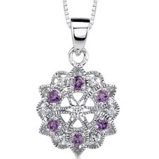 Simple Elegance: Sterling Silver Floral Style Pendant Necklace with Amethyst and Cubic Zirconia