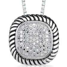 Classic Delight Sterling Silver Designer Inspired Bridal Style Cable Design Pave Diamond Slider Pendant Necklace
