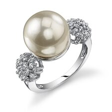 Exquisite Elegance Sterling Silver Vintage Style White cultured Pearl Cubic Zirconia Engagement Ring