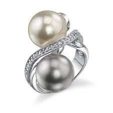 Lustrous Perfection Sterling Silver Gray White Cultured Pearl with Cubic Zirconia Celebrity Style Cocktail Ring